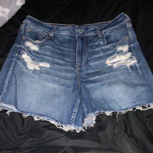 American Eagle High Waisted Denim Midi Shorts